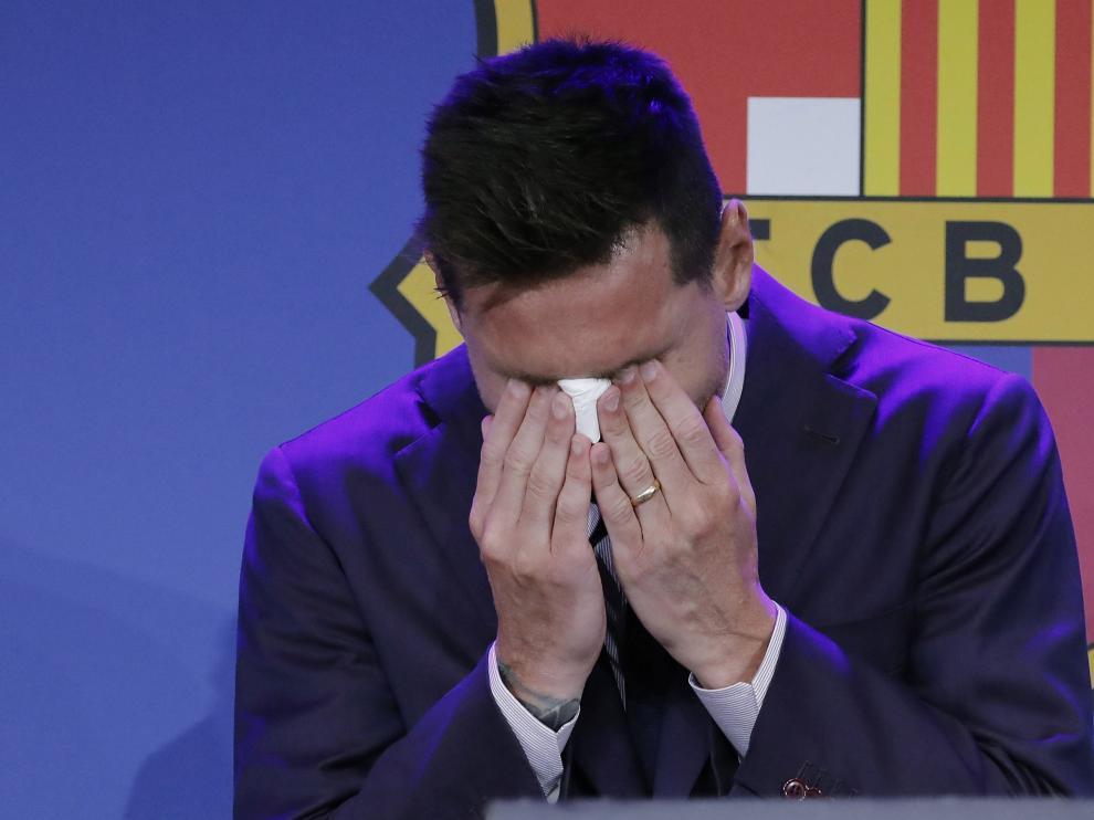 Messi en su despedida del club.