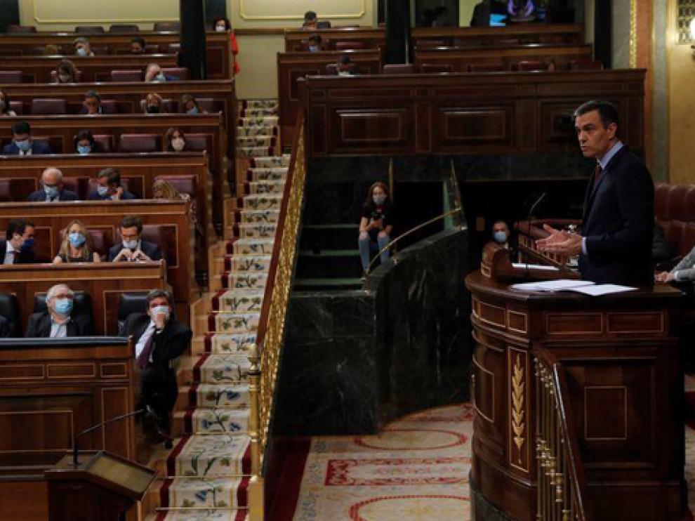 Bancada del Gobierno durante una intervención de Sánchez en el Congreso de los Diputados.
