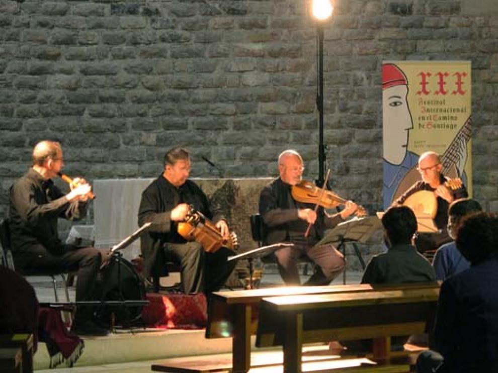 Cuarteto Urueña en su concierto en la iglesia de Canfranc Estación.