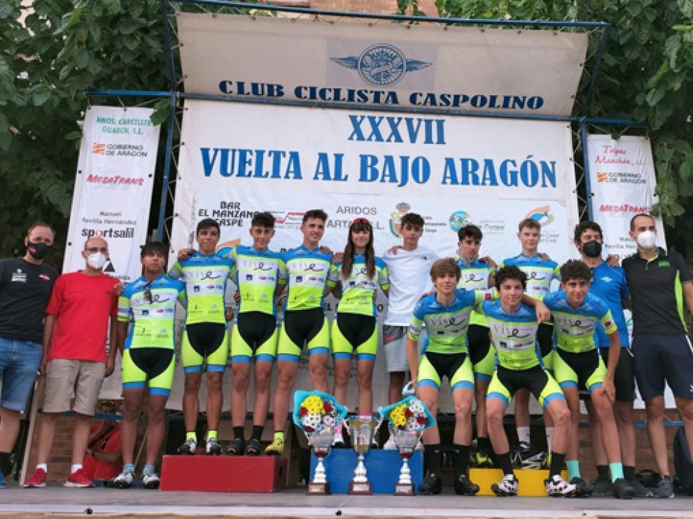 Ciclistas del Vive Huesca La Magia en la carrera celebrada los últimos días.