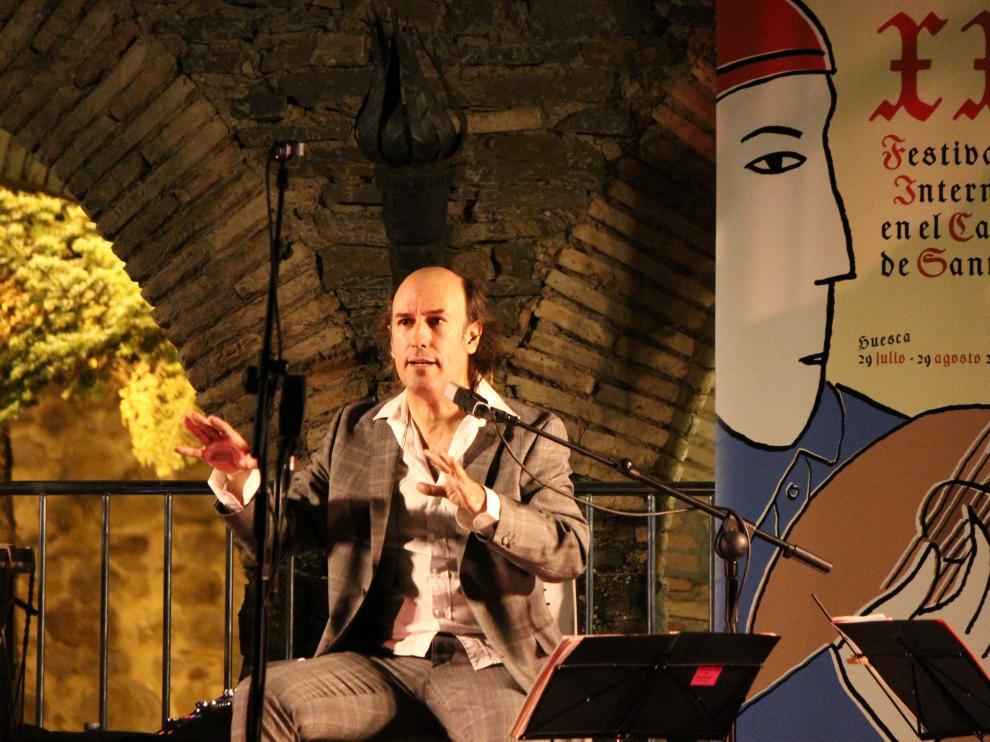 Carlos Núñez en su concierto en el Polvorín de la Ciudadela de Jaca.