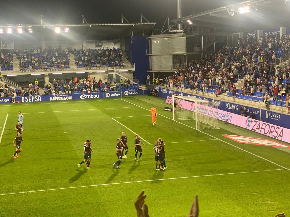 Celebración del gol de Seoane.