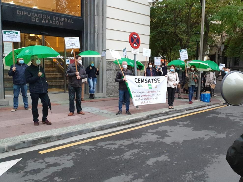 Manifestación de CEMSATSE ante la Delegación del Gobierno de Aragón el año pasado