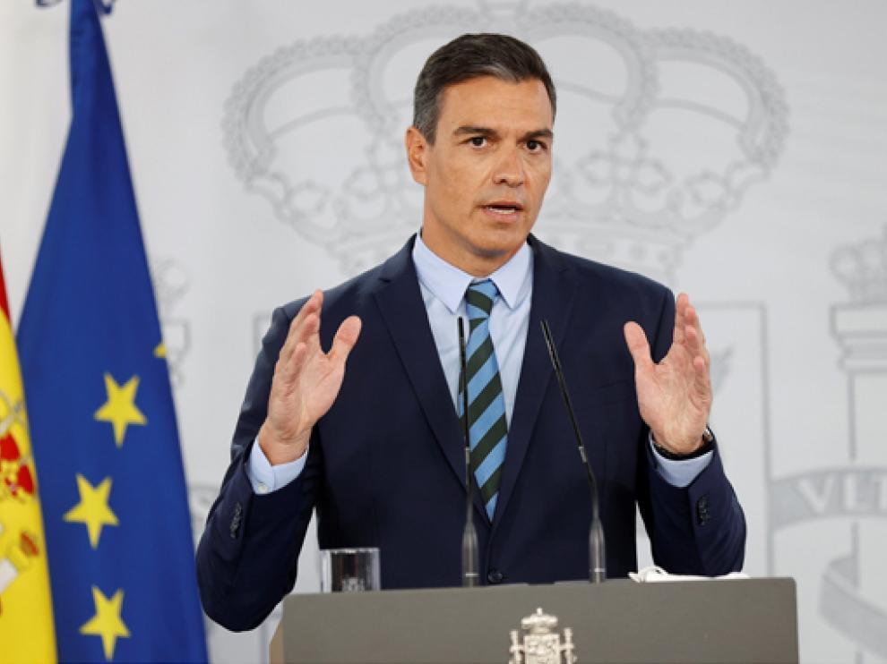 El presidente del Gobierno, Pedro Sánchez, durante la comparecencia de este viernes