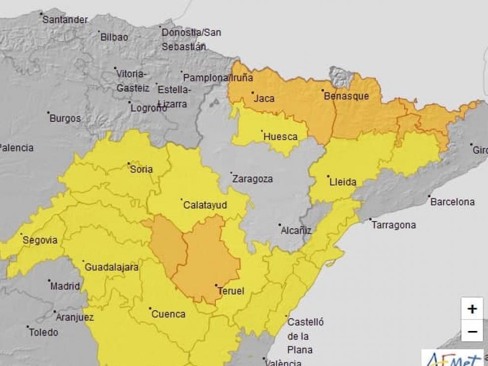 Aviso naranja por lluvias y tormentas en Pirineo oscense,