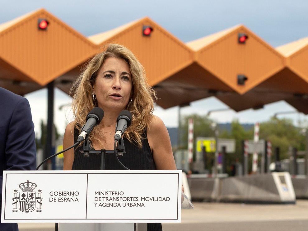 La ministra de Transportes, Raquel Sánchez, en su visita de este martes en Barcelona