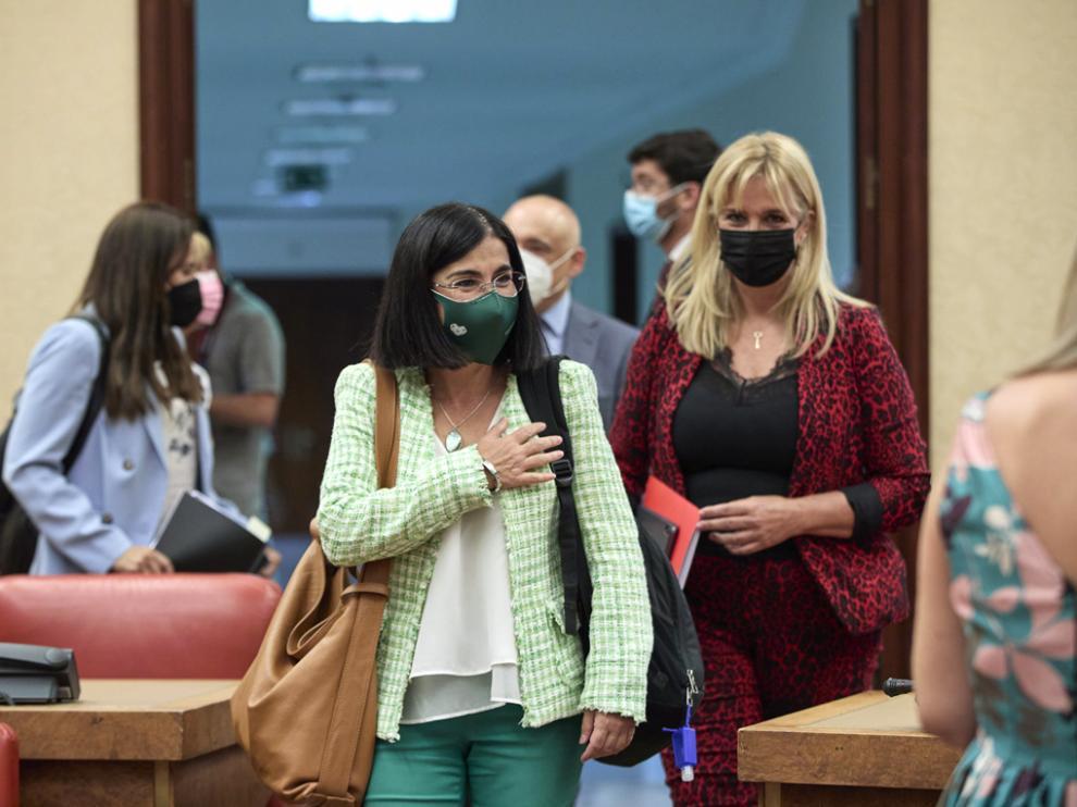 La ministra de Sanidad, Carolina Darias, a su llegada al Congreso de los Diputados para comparecer en comisión