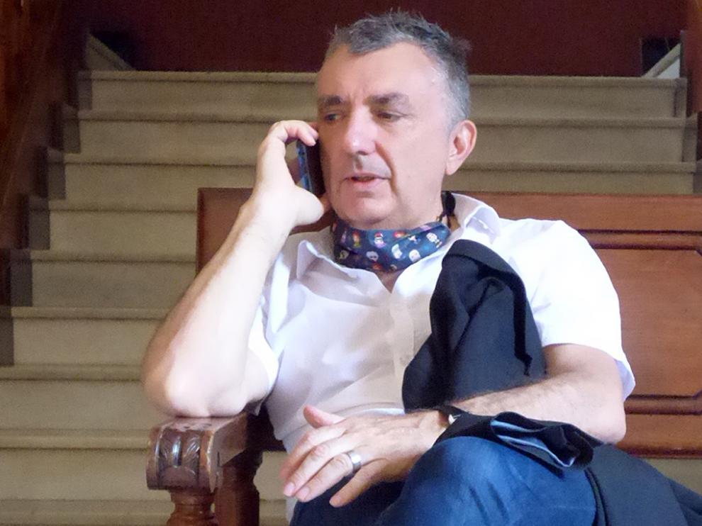 Manuel Vilas en su última visita a Barbastro