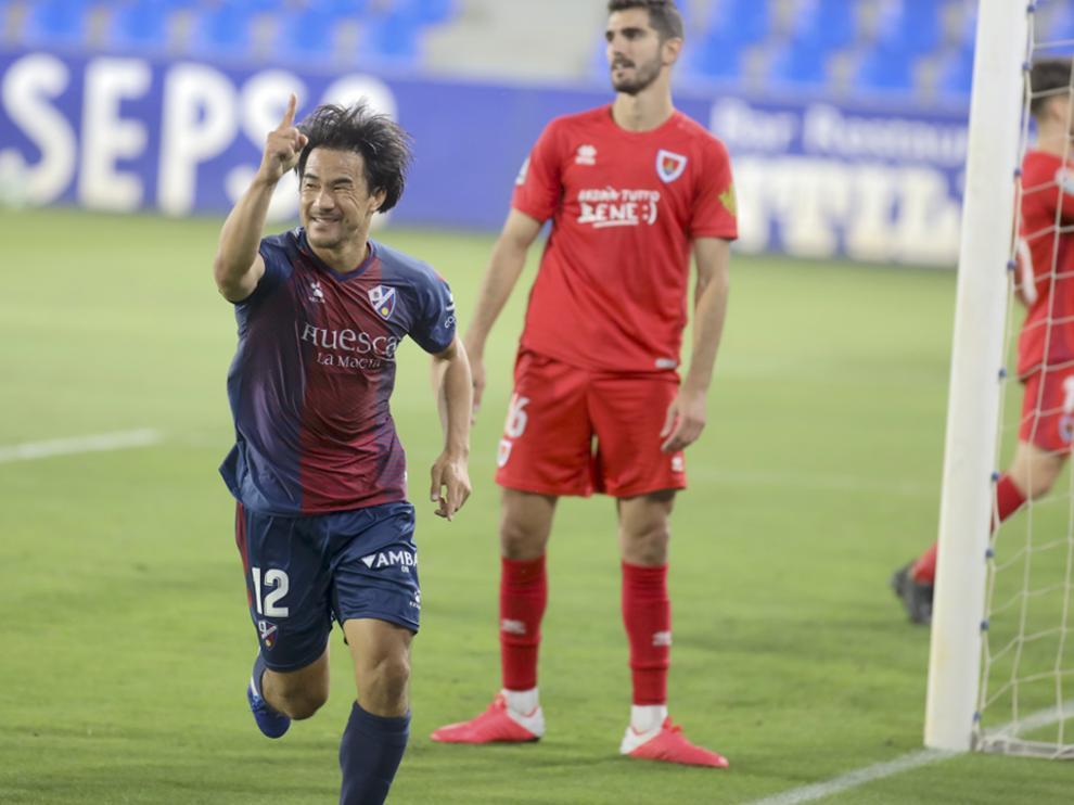 Shinji Okazaki marcó doce goles en su primera temporada en el Huesca