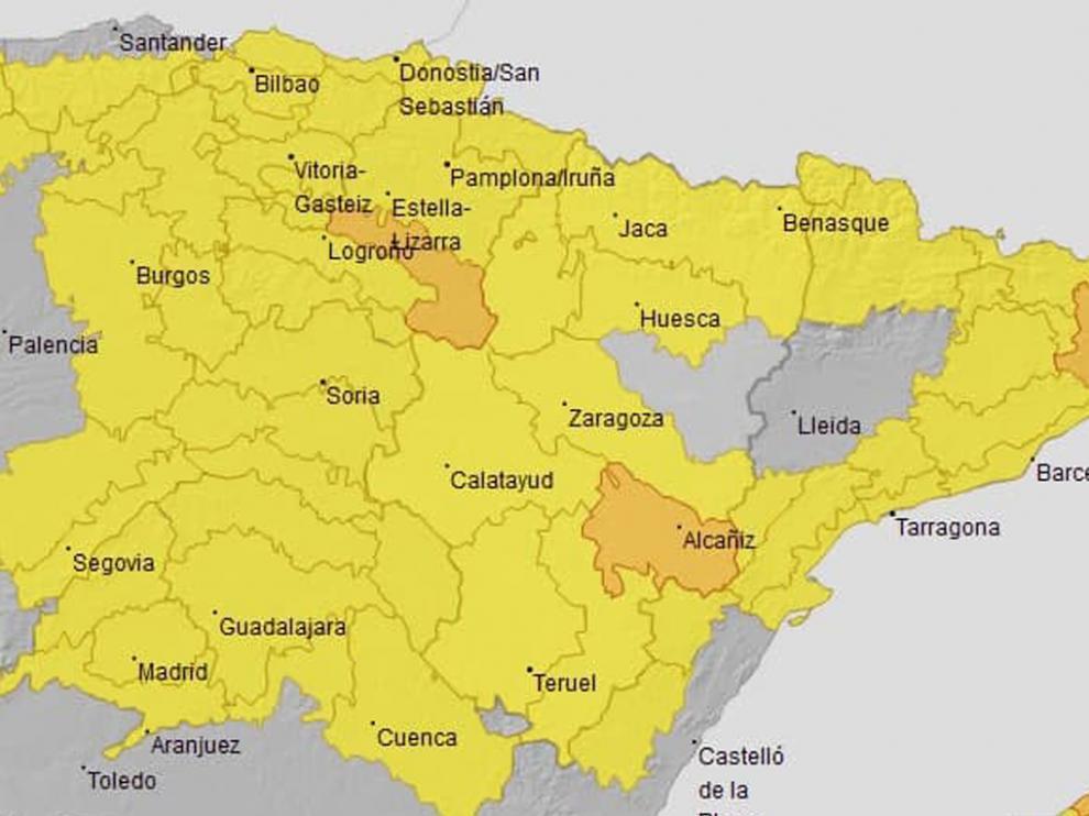 Aviso amarillo en numerosas zonas de las tres provincias aragonesas