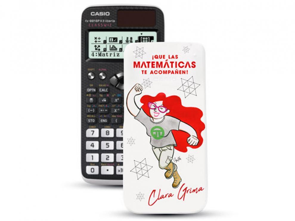 Calculadora Casio con la imagen de Clara Grima