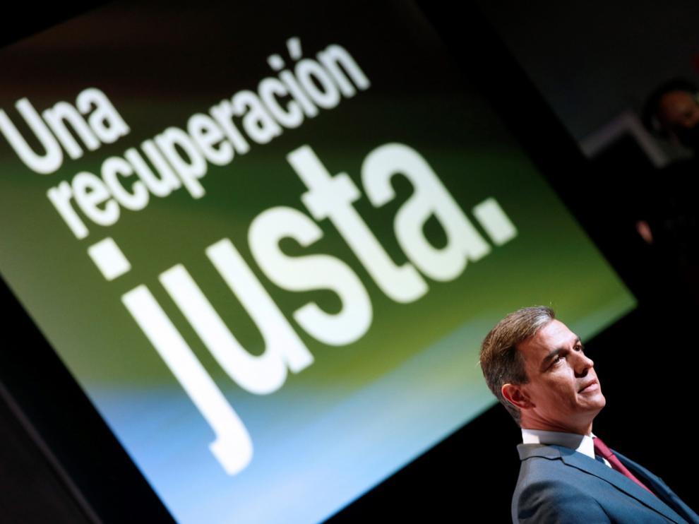 """Pedro Sánchez, durante la presentación de los planes del Ejecutivo para lograr una recuperación """"justa"""""""