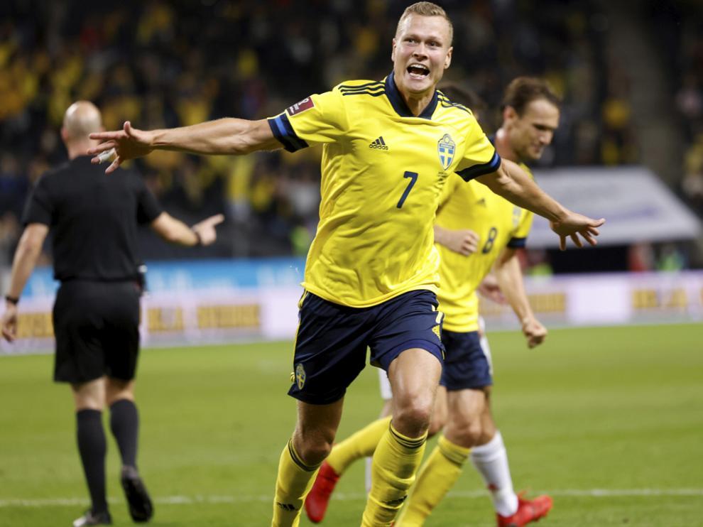 Claeson celebra el gol de la victoria de Suecia ante España