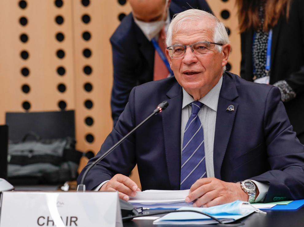 Josep Borrell, este jueves en la reunión celebrada por los países de la UE en Eslovenia