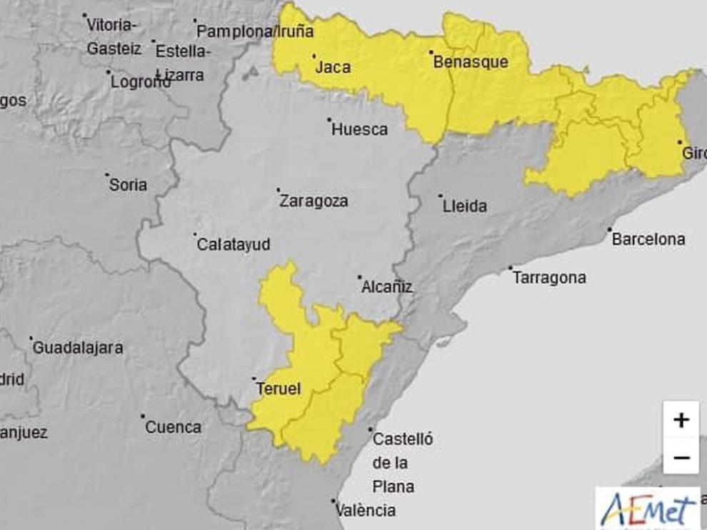 Mapa con las zonas en aviso amarillo por lluvias y tormentas