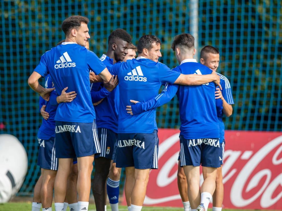 Dani Calvo, durante un entrenamiento con el Oviedo esta semana.