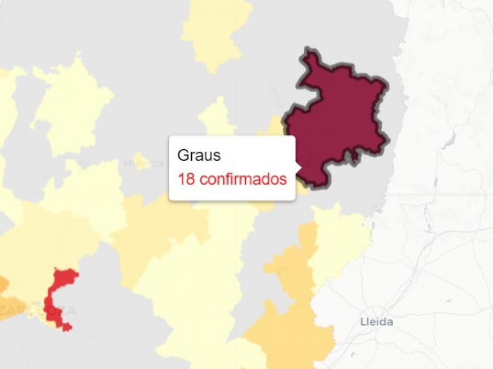 La zona de salud de Graus es la que peores datos de Aragón registra este domingo