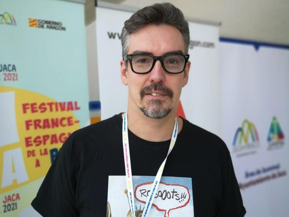 Javier Marquina, en el Salón del Cómic de Jaca.