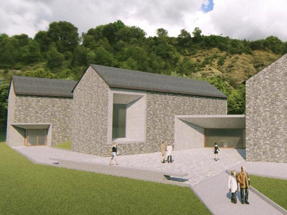 Recreación virtual del Centro de Visitantes de Escalona, conformado por tres edificios.