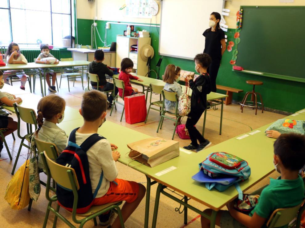 Primer día de clase el curso pasado en el colegio El Parque de Huesca capital