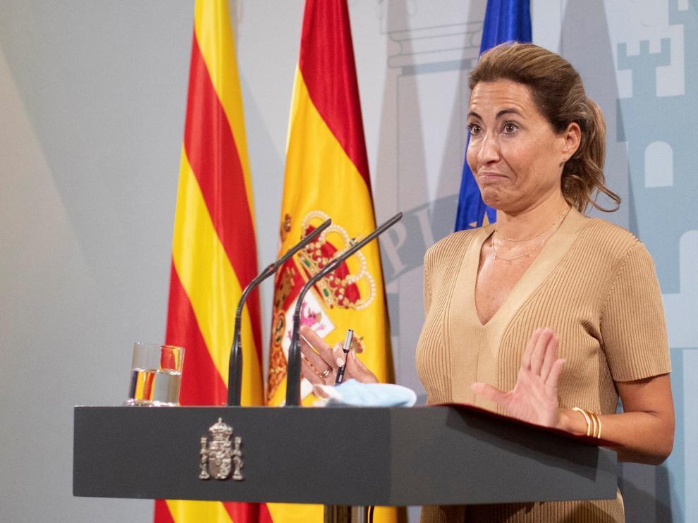 La ministra Raquel Sánchez ayer durante su comparecencia sobre el futuro del aeropuerto de Barcelona