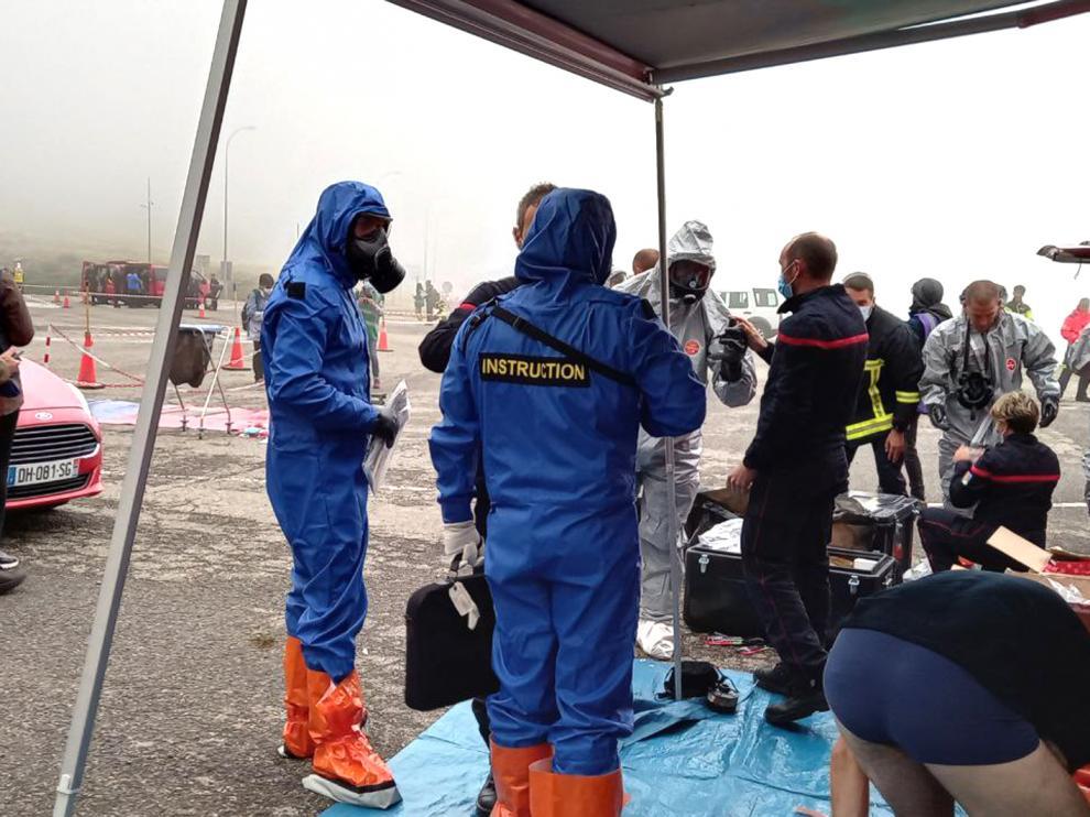 Servicios de protección civil en el simulacro