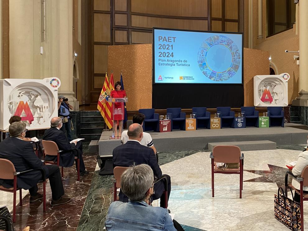 Presentación este miércoles del plan turístico del Ejecutivo aragonés.