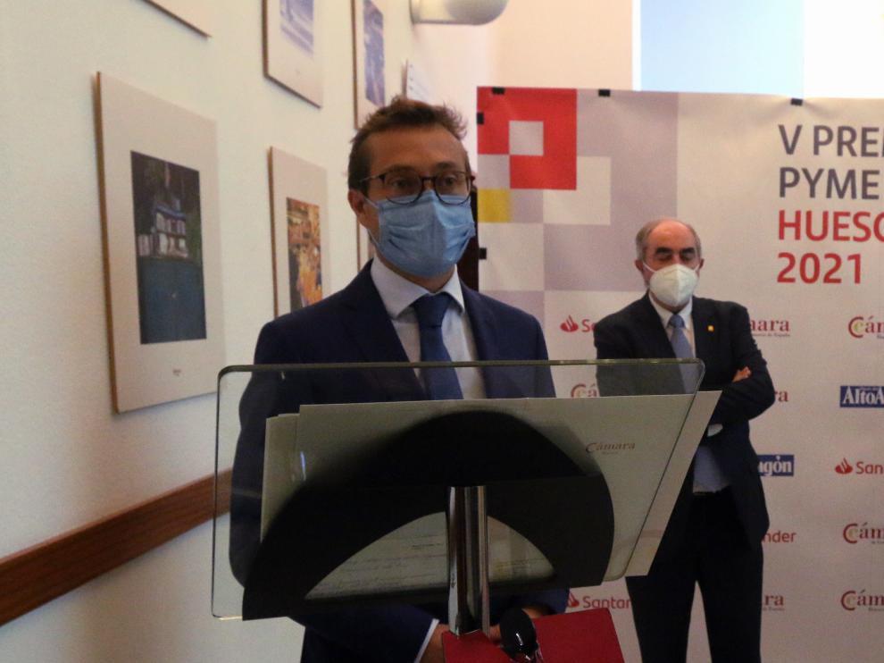 Javier Alfaro, tras recoger el Premio Pyme 2021.