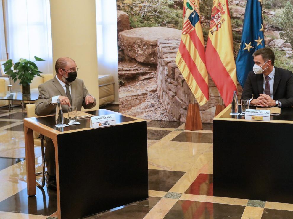 Imagen del encuentro mantenido este jueves entre Javier Lambán y Pedro Sánchez.