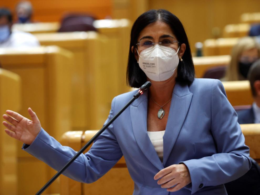 Carolina Darias, durante su intervención en la sesión de control al Gobierno en el Senado este martes