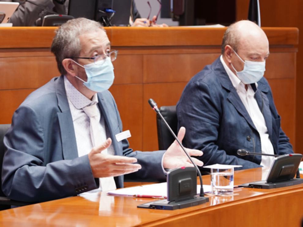 Joaquín Puyuelo y Ramón Baldellou, durante su comparecencia ciudadana ayer en el pleno de las Cortes.