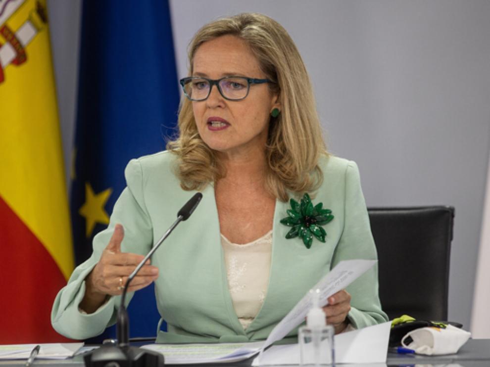 La ministra Nadia Calviño en la rueda de prensa posterior a la reunión del Consejo de Ministros.