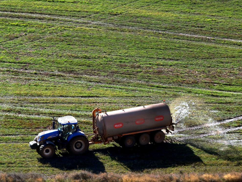 Aplicación de purín un campo de cultivo de la provincia altoaragonesa.