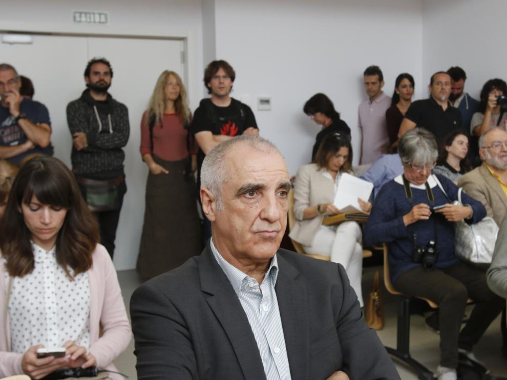Victorino Alonso, condenado por la destrucción de la cueva, durante el juicio.