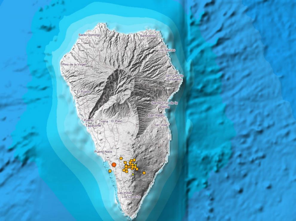 Actividad sísmica en Fuencaliente, al sur de La Palma.