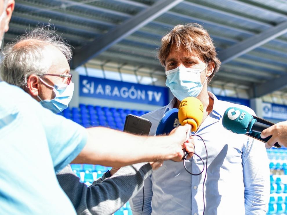 Josete Ortas, director general del Huesca, ha valorado satisfactoriamente la apertura total de los estadios al público.