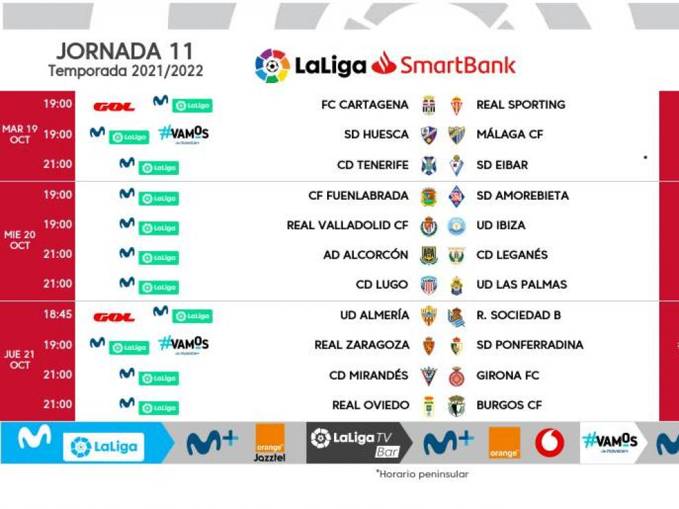 Horarios de la jornada 11, con el Huesca-Málaga el martes día 19.