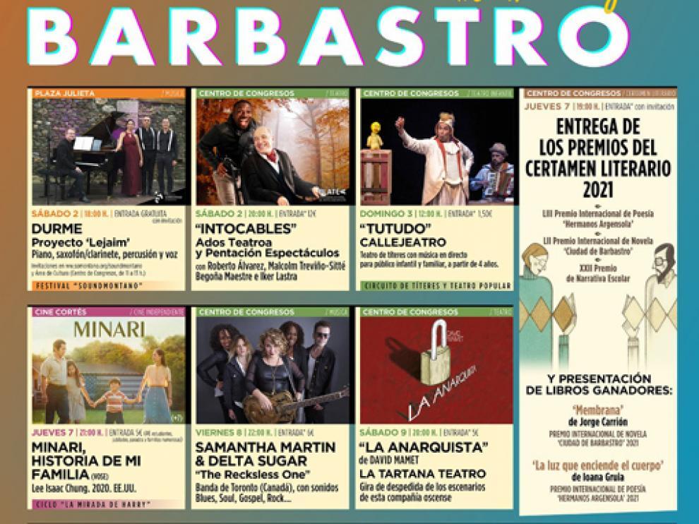 Cartel de la programación cultural de otoño en Barbastro