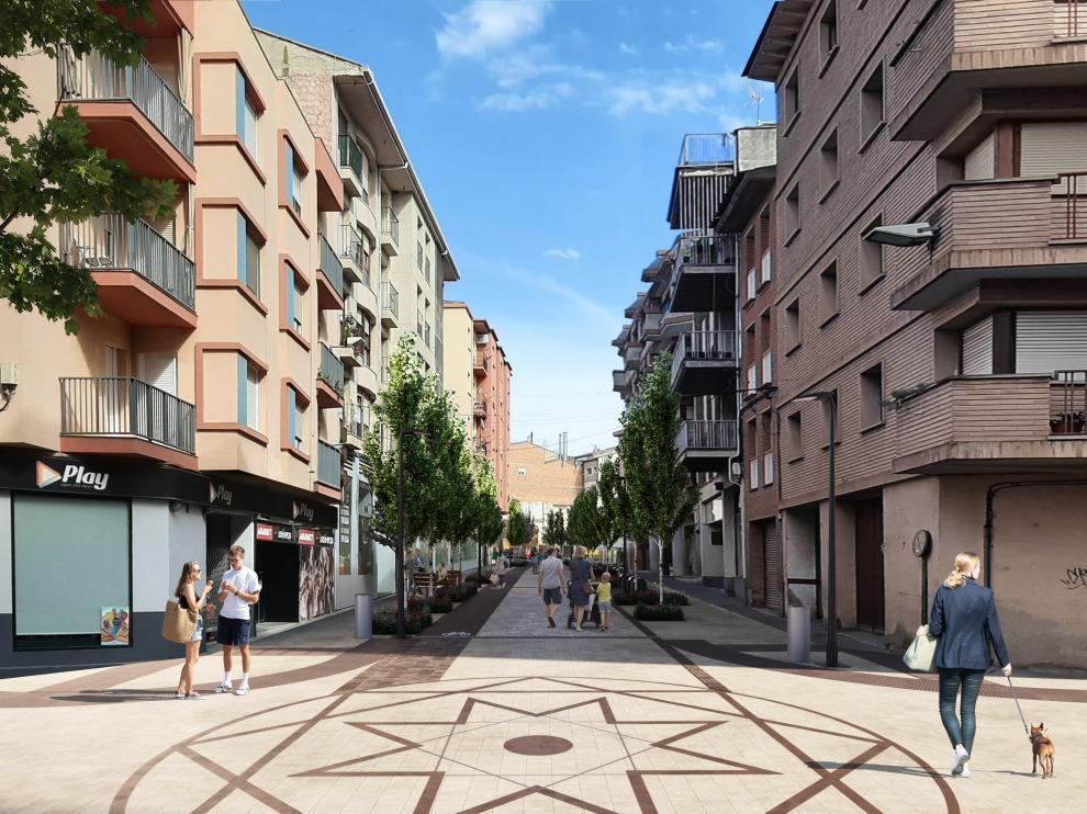 Diseño de la nueva imagen que lucirá la avenida del Pilar de Monzón.