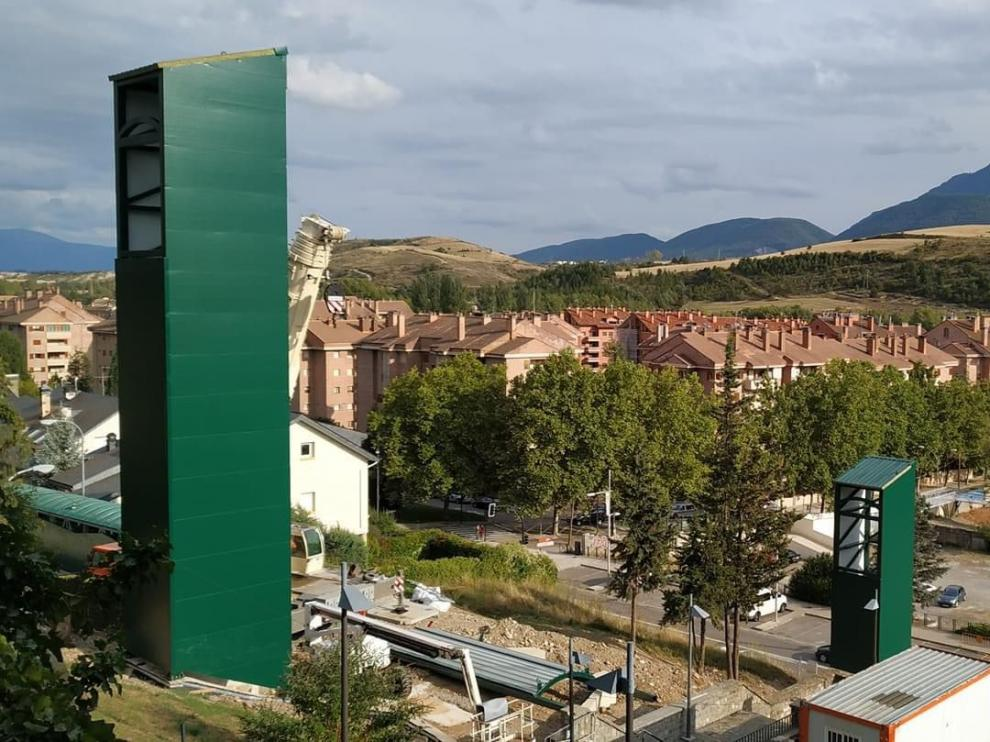 Vista de las nuevas estructuras del futuro elevador.
