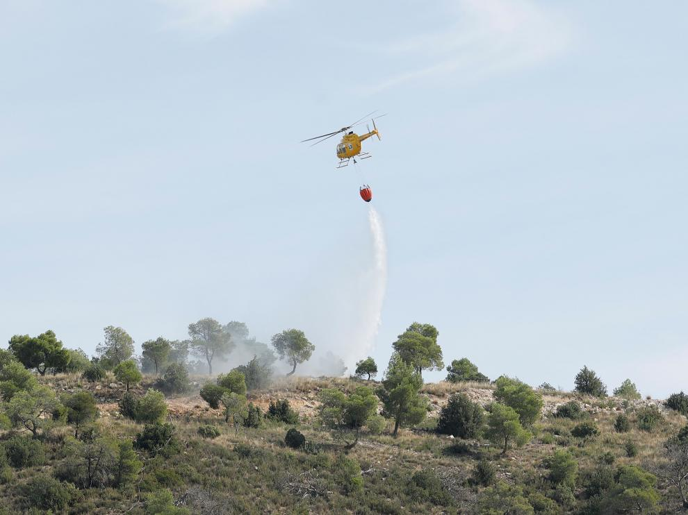 Imagen un helicóptero durante su intervención en un simulacro.