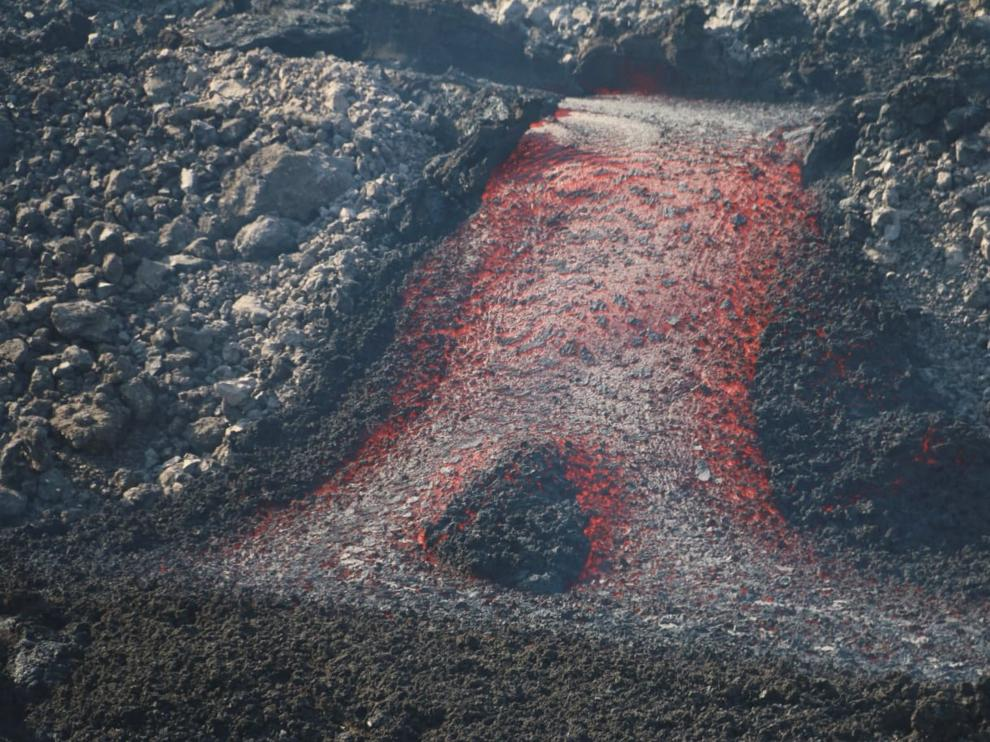 La eurupción del volcán de La Palma este jueves.
