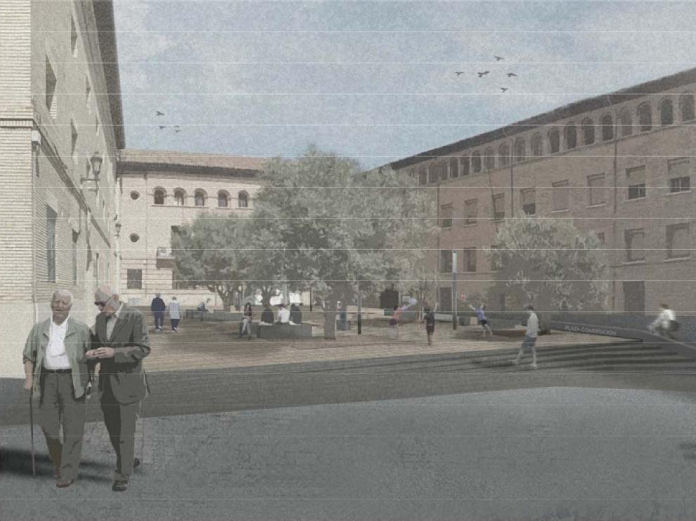 Recreación del futuro aspecto que tendrá la plaza de la Constitución de Barbastro