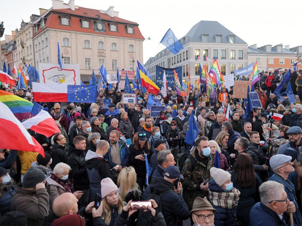 La manifestación más multitudinaria fue la convocada en el centro de la capital, Varsovia. POLAND EU DEMONSTRATION