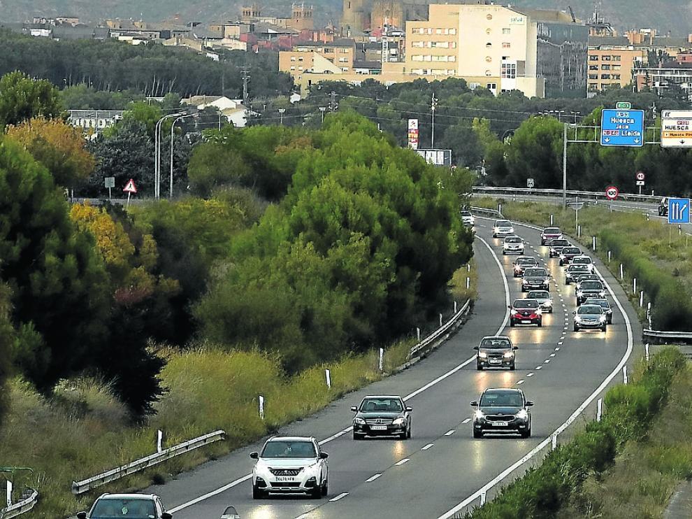 La A-23, en Monrepós y Huesca, registró el tráfico más denso de la provincia.