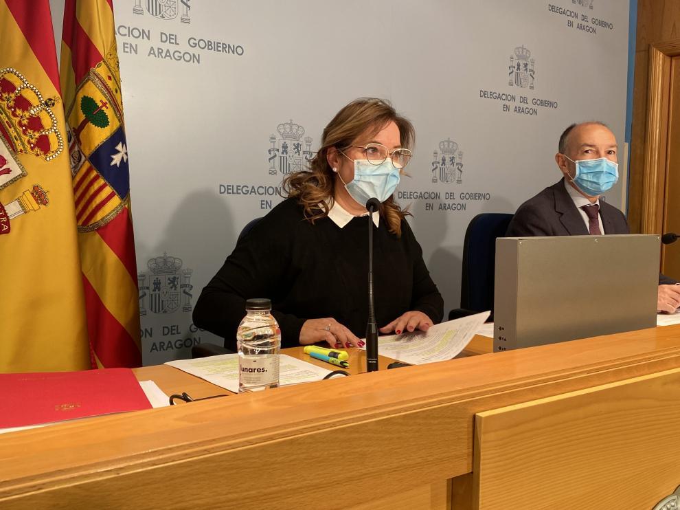 La delegada del Gobierno en Aragón, Rosa Serrano, durante su comparecencia.