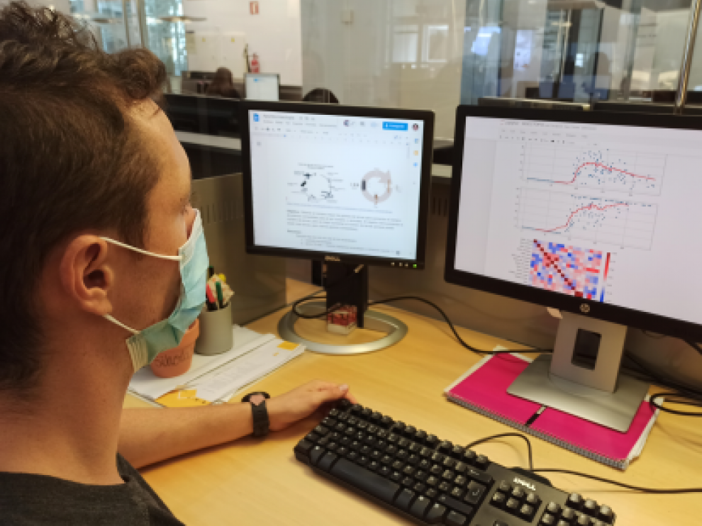 Un integrante del equipo de Big Data de Itainnova analiza datos de la granja de insecto.